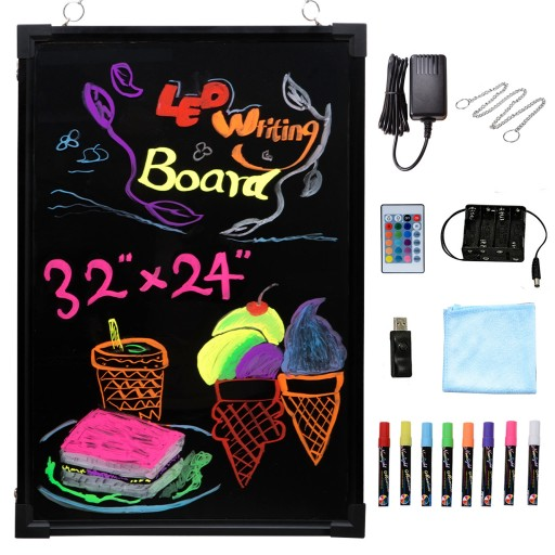 """Voilamart LED Message Writing Board, 32"""" x 24"""" Flashing Illuminated Erasable Message Memo Notice Menu Sign Board with Remote Control, 8 Colors Chalk Marker"""
