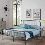 Voilamart Full Size Metal Bed Frame with Headboard Footboard, Mattress Foundation Base w/Heavy Duty Steel Slats & 9-Leg Support No Box Spring Needed, Black