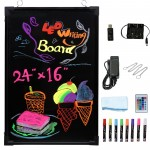 "Voilamart LED Message Writing Board, 24"" x 16"" Flashing Illuminated Erasable Message Memo Notice Menu Sign Board with Remote Control, 8 Colors Fluorescent Pens"