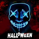 Voilamart Led Purge Mask LED Halloween Mask Halloween Scary Light up Mask Costume EL Wire Mask for Cosplay Festival Party Halloween (White)