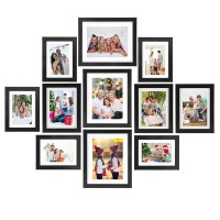 Voilamart Picture Frames Set of 11, Multi Pack Photo Frame Set Wall Gallery Kit - Display Three 8x10 in, Three 6x8 in, Five 5x7 in, with Wall Template and Hanging Hardware