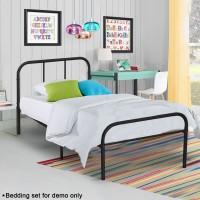 Voilamart Metal Bed Frame Twin Size Sliver / 6 Legs Platform Mattress Foundation Headboard Footboard/No Box Spring Needed Boys Kids Adult Bedroom Black