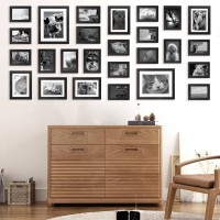 Voilamart Picture Frames Set of 26, Multi Pack Photo Frame Set Wall Gallery Kit - Display Two 8x10 in, Five 5x7 in, Nineteen 4x6 in, with Wall Template and Hanging Hardware, Black