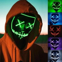 Voilamart Led Purge Mask LED Halloween Mask Halloween Scary Light up Mask Costume EL Wire Mask for Cosplay Festival Party Halloween (Green)