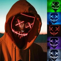 Voilamart Led Purge Mask LED Halloween Mask Halloween Scary Light up Mask Costume EL Wire Mask for Cosplay Festival Party Halloween (Red)